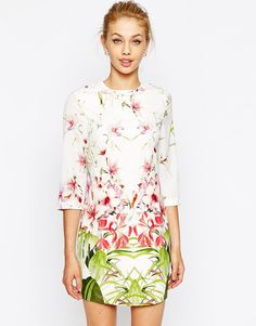 Ted Baker Tunic Dress in Mirrored Tropical Print