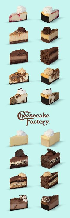 A cheesecake for every occasion! Which one is your favorite flavor? Chicken Piccata Cheesecake Factory, Chicken Madeira Cheesecake Factory, Cheesecake Factory Recipes, Pecan Cheesecake, Appetizer Dishes, Tasty Dishes, Delicious Restaurant, Restaurant Recipes, Chopped Salad Recipes
