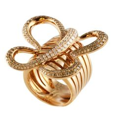 18k Rose Gold EP White /& Red Butterfly Cocktail Ring