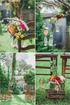 rustic homemade backyard wedding ceremony -- hanging bottles