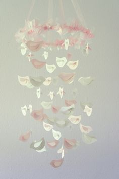 Pink & White Nursery Bird Mobile, Wedding Chandelier, Baby Shower Gift, Photographer Prop. $63.00, via Etsy.