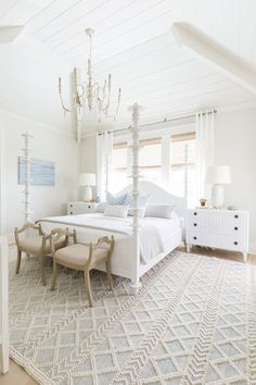 Layering with curtains and shades behind bed White Bedroom Design, White Bedroom Set, Bedroom Sets, Bedding Sets, King Bedroom, Master Bedrooms, Master Suite, Beach House Furniture, Beach House Decor