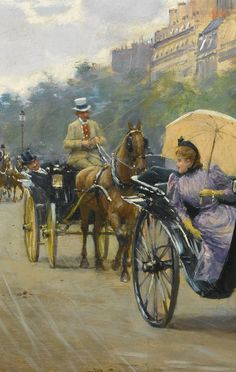 Détail. Jean Béraud (1849 - 1935, French), Scène sur Les Champs-Élysées, signed Jean Béraud. (lower right), oil on panel, 14 1/2 by 21 in., 36.8 by 53.3 cm
