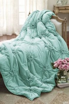 Soft Surroundings is your store for luxurious bedding sets to outfit your bedroom with beauty. Our bedding collections are inspired by vintage bedding with plush fabric & gorgeous detail. Shabby Chic Homes, Shabby Chic Decor, Aqua Bedding, Coverlet Bedding, Bedding Sets, Comforters, Mint Comforter, Duvet, Satin Bedding