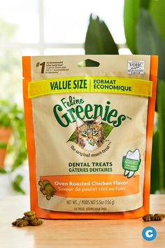 Reward your favorite feline with a great-tasting snack that delivers essential health benefits when you give her Greenies Feline Dental Cat Treats. These delicious, crunchy morsels feature the paw-sitively irresistible taste of real chicken along with a unique shape that helps scrape away plaque and tartar as she chews for cleaner teeth and fresher breath. Chicken meal is the first ingredient for real chicken protein that enhances the taste and promotes healthy metabolism.