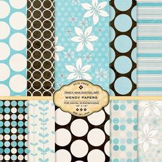 Digital Paper Pack for invites card making by TracyAnnDigitalArt, $4.95