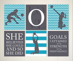 inspirational girls art volleyball wall art girl volleyball player volleyball room decor girls quote art set of 6 - Volleyball Bedroom Decor