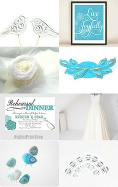 Turquoise and white by Hili on Etsy--Pinned with TreasuryPin.com