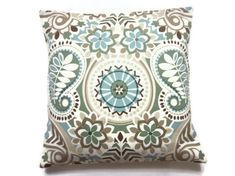 Decorative Pillow Cover Sage Green Blue Taupe Brown Throw Toss Accent Paisley Damask Same Fabric Front/Back  18x18 inch  x by LynnesThisandThat on Etsy https://www.etsy.com/listing/190780612/decorative-pillow-cover-sage-green-blue
