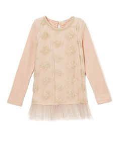 Peach Lace-Accent Tunic - Infant, Toddler & Girls