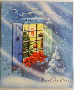 #432 50s Blustery Snowy Window Scene-Vintage Christmas Greeting Card