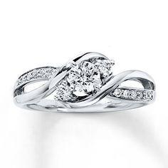 Three-Stone Ring 3/8 ct tw Diamonds 14K White Gold