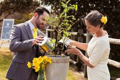 Tree planting ritual. Corey and Esther's wedding ceremony with Celebrant Kate Joubert.
