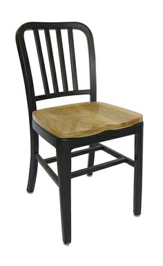 Brushed Aluminum Dining Chairs Restaurant Wood Seat Modern Design Emeco Navy  Chair