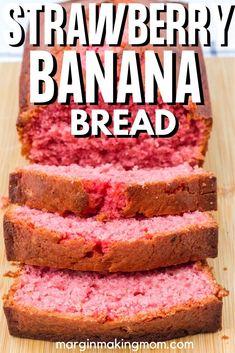 Strawberry Bread Recipes, Strawberry Banana Bread, Banana Bread Recipes, Strawberry Jello, Sour Cream Banana Bread, Peanut Butter Banana Bread, Butter Bread Recipe, Bread Machine Recipes, Easy Bread Recipes