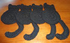Halloween Black Cat Cotton Crochet Coasters - Set of 4