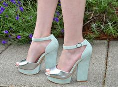 mint green and silver heels