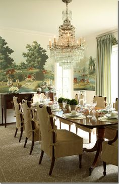 formal dining room with DeGournay wallpaper contrasted with the casual…