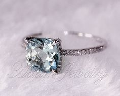 8mm Cushion Cut VS Aquamarine Ring Micro Pave H/SI Diamond Engagement Ring 14K White Gold Wedding Ring/ Promise Ring/ Anniversary Ring