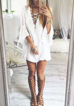 White Plain Hollow-out Boho Chic Mandarin Sleeve V-neck Fashion Mini Dress