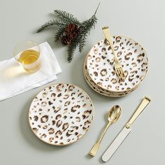 Leopard Accent Plates - Set of 4 | Ballard Designs