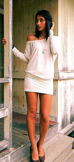 Wailea Raglan Sleeve Tunic Top Dress in Bamboo Organic Cotton Blend Jersey by Indigo Sage.