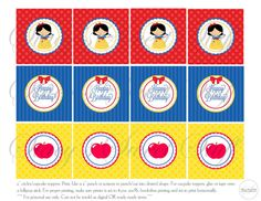 Snow White Cupcake Toppers DIY Printable by StacysSweetStuff