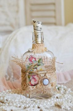 French Inspired Altered Vintage Bottle by thefeltedcottage on Etsy, $20.00