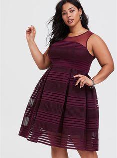 ebf8386970 Purple Illusion Mesh Skater Dress