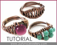 Wire Jewelry Tutorial Beaded Ring Tutorial por JustynaJewellery