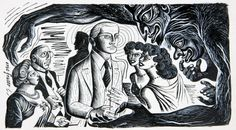 WHO SUPS WITH THE DEVIL by ERIC FRASER, pen & ink