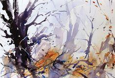Winter Copse, Expressive semi abstract watercolour by Adrian Homersham http://adrianhomersham.co.uk/