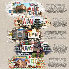 World Showcase at Epcot Walt Disney World scrapbook layout. Countries represented here: England, Japan. Germany, Norway, Mexico. 2nd page would have the other countries. Project Mouse World bundle
