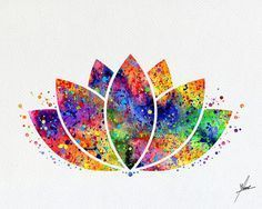Lotus Flower Yoga Symbol Watercolor Illustrations Art Print Poster Handmade Wall Decor Art Home Deco Art And Illustration, Watercolor Illustration, Illustrations, Flower Wall Decor, Wall Art Decor, Yoga Kunst, Art Deco Tattoo, Yoga Symbols, Poster Prints