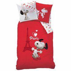Parure housse de couette + 1 taie d'oreiller coton imprimé Snoopy Paris