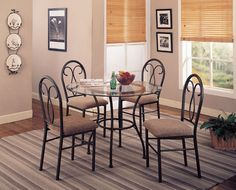 Odelia 5 Piece Black Metal Dining Set By Coaster Http://www.ashleydeals.  Metal Dining TableModern ...