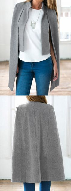 Fall fashion made easy with a gray cape and skinny jeans.