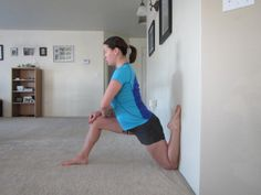 KNEE STRETCHES - Standing hamstrings, standing quads, wall hip-flexors, lying outer thigh, one-leg hurdlers.