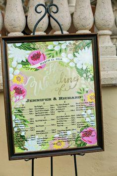 Romantic Peach & Gold Garden Wedding via TheELD.com | Hand painted wedding sign.