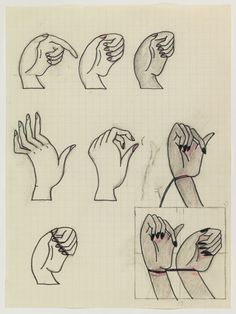 Christina Ramberg - Untitled (NIne Hands) c. 1971 felt tip, graphite, and coloured pencil on graph 8.5 X 6.5 inches
