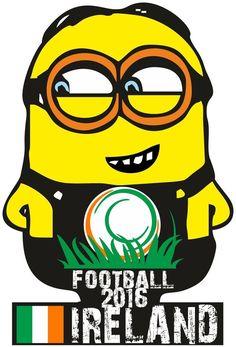 IRELAND MINION FOOTBALL T SHIRT European Championship FRANCE Euro 2016 MENS KIDS