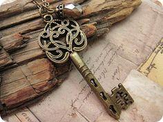Ornate Style Victorian Key Necklace by trinketsforkeeps on Etsy, $7.50