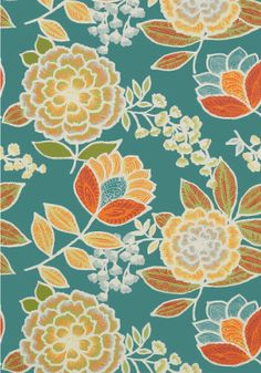 Sulu #wallpaper and coordinating #fabric in Teal from the #Monterey Collection by #Thibaut