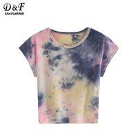 Dotfashion Bloque de Color Tie-dye Tops Mujeres Camisetas Ropa Casual Suelta de Manga Corta Cuello Redondo Verano Multicolor T-shirt