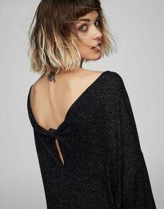 Pull&Bear - femme - vêtements - robes - robe nœud dos - noir - 05394333-V2017