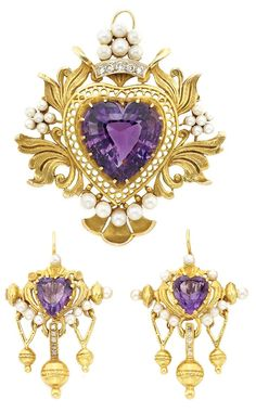 Antique Gold, Amethyst, Pearl and Diamond Brooch and Pair of Earrings. One heart-shaped amethyst ap. 19.00 cts., 2 heart-shaped amethysts, c. 1900.