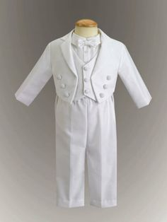 $64.95-$77.00 Baby Adorable white tuxedo with vest. The shirt is a onesie so it stays tucked in to the pants. Perfect for weddings, christening, baptism, dedication or weddings.