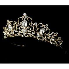 White and Gold Wedding Crown, Bride Tiara. Royal Bridal Tiara (Gold or Silver) Royal Tiaras, Royal Jewels, Tiaras And Crowns, Crown Jewels, Royal Crowns, Gold Crown, Rhinestone Wedding, Gold Rhinestone, Rhinestone Jewelry