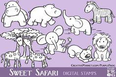 SWEET SAFARI - Digital Stamps by Purple Frog on Creative Market