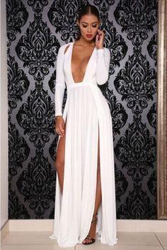 Elektra White Long Sleeve Deep Plunge Hi Slit Maxi Dress